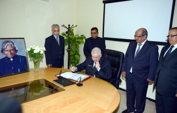 Signing of Condolence Book on demise of Honourable former President of India, His Excellency, Dr. A. P. J. Abdul Kalam on