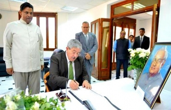 Algerian Prime Minister pays tribute to Late Prime Minister Shri Atal Bihari Vajpayee and signs condolence book at the Embassy