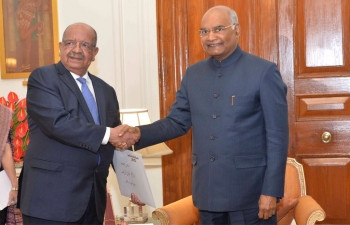 """Foreign Minister of Algeria, H.E. Abdelkader Messahel received by the Indian President H.E. Ram Nath Kovind on 31st January 2019 at Presidential Palace in New Delhi."