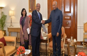 Foreign Minister of Algeria, H.E. Abdelkader Messahel received by the Indian President H.E. Ram Nath Kovind on 31st January 2019 at Presidential Palace in New Delhi.